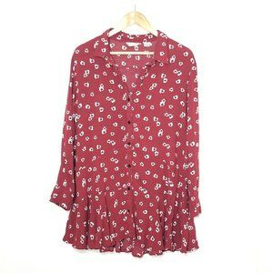 11•1•TYLHO | Red Floral Button Front Mini Dress L